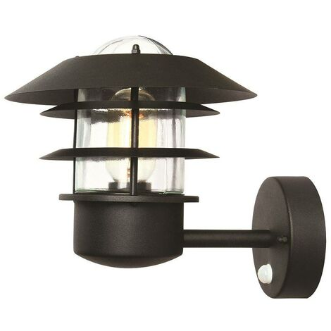 Elstead Helsingor - 1 Light Outdoor Wall Lantern Light Black with PIR Motion Sensor IP44, E27