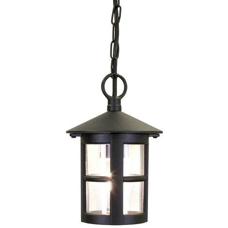 Elstead Hereford - 1 Light Outdoor Ceiling Lantern Black IP43, E27