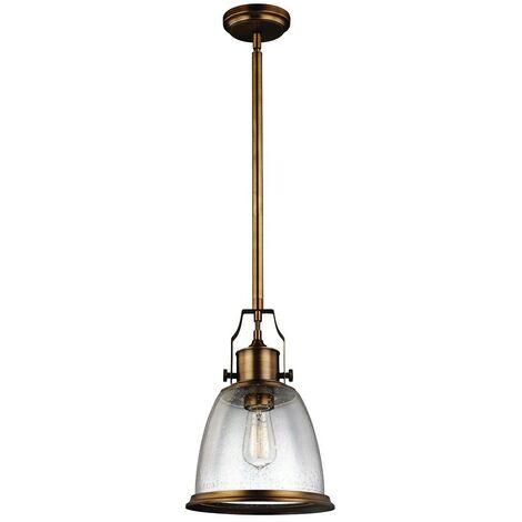 Elstead Hobson - 1 Light Medium Dome Ceiling Pendant Brass, E27