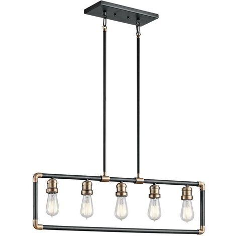 Elstead Imahn - 5 Light Ceiling Chandelier Pendant Bar Light Black, Natural Brass, E27