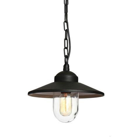 Elstead Klampenborg - 1 Light Outdoor Ceiling Chain Lantern Black IP44, E27