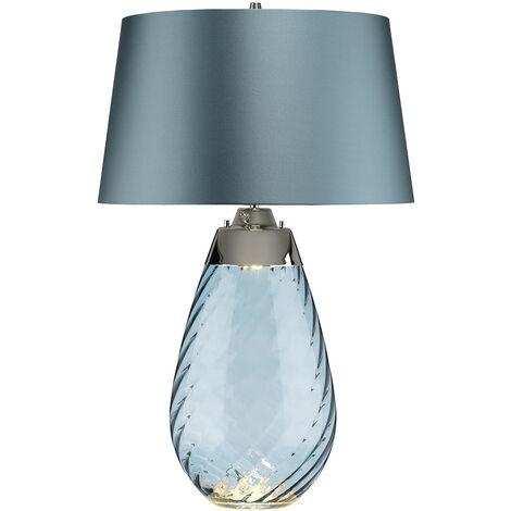 "main image of ""Elstead Lena 2 Light Large Blue Table Lamp, Blue-tinted Glass , Duck Egg Blue Shade, E27"""