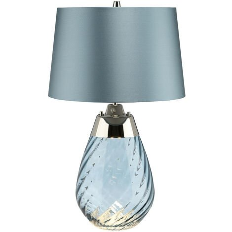 """main image of """"Elstead Lena 2 Light Small Blue Table Lamp, Blue-tinted Glass , Duck Egg Blue Shade, E27"""""""