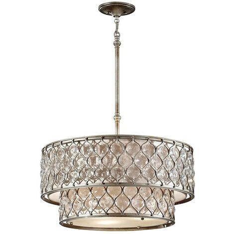 Elstead Lucia - 6 Light Cylindrical Chandelier Pendant Polished Silver Finish, E27