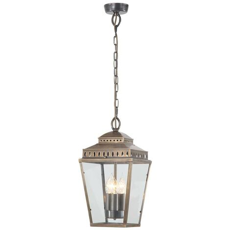Elstead Mansion House - 3 Light Outdoor Ceiling Chain Lantern Brass IP44, E14