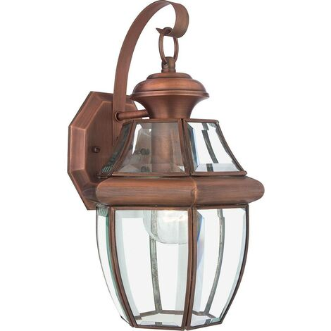 Elstead Newbury - 1 Light Medium Wall Lantern - Aged Copper, E27