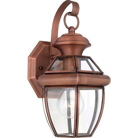 Elstead Newbury - 1 Light Small Wall Lantern - Aged Copper, E27