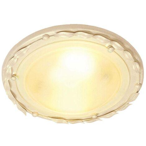 Elstead Olivia - 1 Light Flush Ceiling Light Gold, Ivory, E27