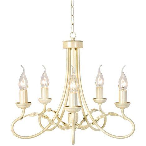 Elstead Olivia - 5 Light Chandelier Ivory, Gold Finish, E14