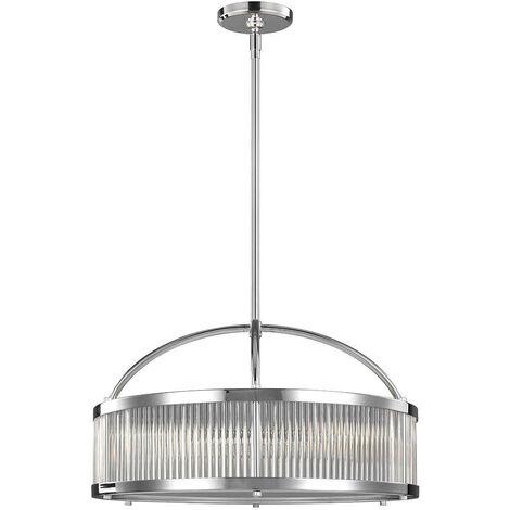 Elstead Paulson - 6 Light Round Ceiling Pendant Light Chrome IP44, G9