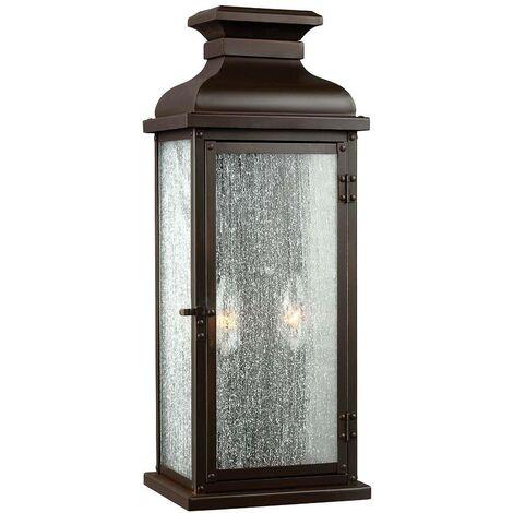 Elstead Pediment - 2 Light Outdoor Medium Wall Lantern Light Dark Copper IP44, E14