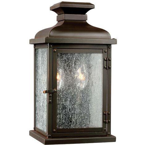 Elstead Pediment - 2 Light Outdoor Small Wall Lantern Light Dark Copper IP44, E14