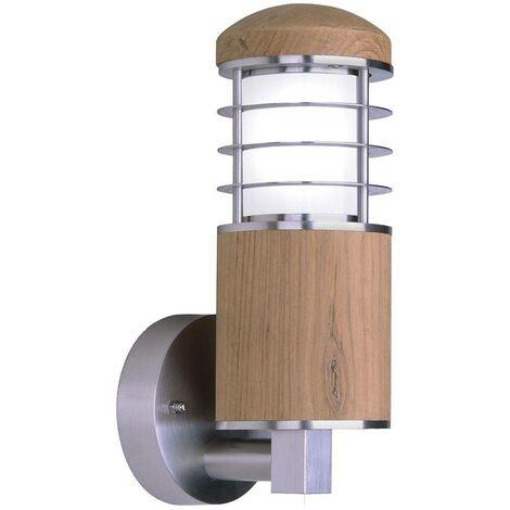 Elstead Poole - 1 Light Outdoor Wall Light Stainless Steel, Teak IP44, E27