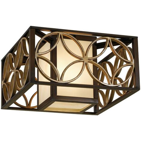 Elstead Remy - 2 Light Flush Ceiling Light Gold, Bronze
