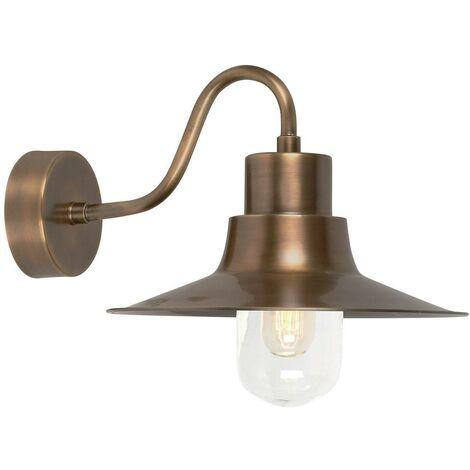 Elstead Sheldon - 1 Light Outdoor Fisherman Dome Wall Light Brass IP44, E27