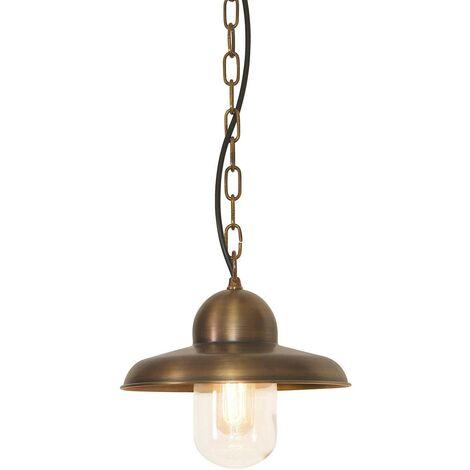 Elstead Somerton - 1 Light Outdoor Ceiling Chain Lantern Brass IP44, E27
