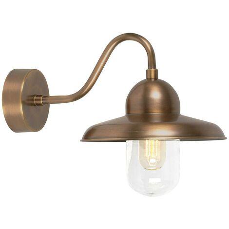 Elstead Somerton - 1 Light Outdoor Fisherman Dome Wall Light Brass IP44, E27