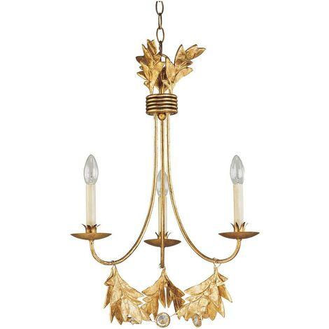 Elstead Sweet Olive - 3 Light Multi Arm Ceiling Pendant Chandelier Gold, E14