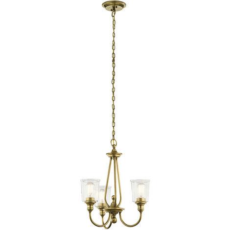 Elstead Waverly 3 Light Chandelier, Natural Brass, E27