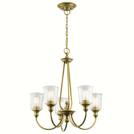 Elstead Waverly 5 Light Chandelier, Natural Brass, E27