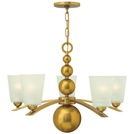 Elstead Zelda - 5 Light Multi Arm Chandelier Vintage Brass Finish, E27