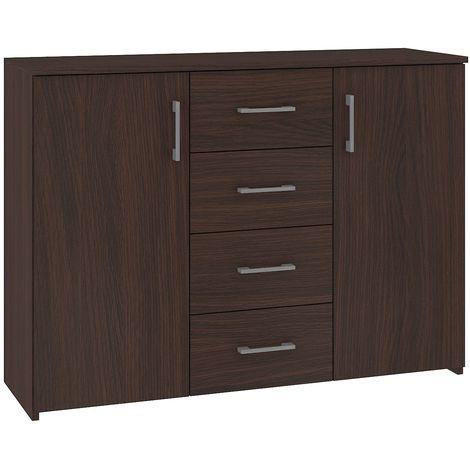ELTON | Commode Buffet moderne salon séjour chambre | 110x80x35cm 4 tiroirs 2 portes | Meuble de rangement Enfilade - Wenge
