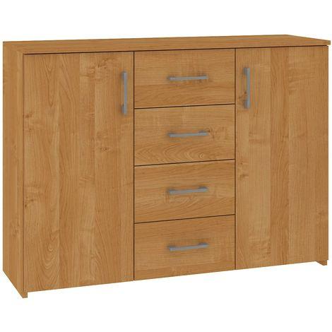ELTON | Commode Buffet style moderne salon séjour chambre | 110x80x35 cm 4 tiroirs 2 portes | Meuble de rangement Enfilade - Aulne
