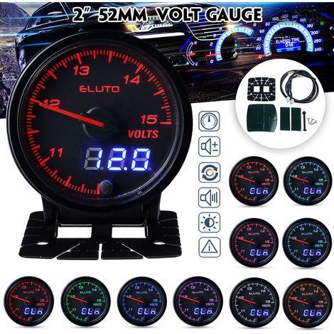 """Eluto 12V 2"""" 52mm VoltMetres Jauge Voltage LED Numérique Aiguille 10 Couleur Voiture"""
