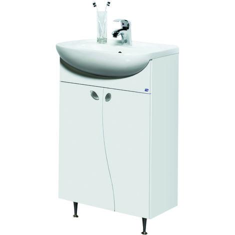 Elza Bad Waschtisch Unterschrank 50 cm Weiss Hochglanz 2-t|rig Soft-Close  Keramik Badezimmer Waschtischunterschrank