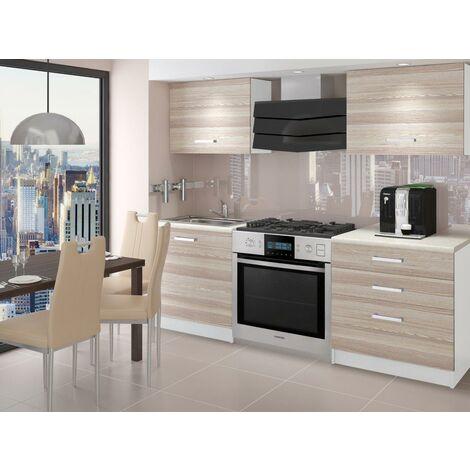 EMBER - Cuisine Complète Modulaire Linéaire L 120 cm 4 pcs - Plan de travail INCLUS - Ensemble armoires meubles cuisine - Acacia