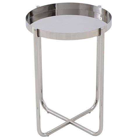 Ember Silver Metal Round Tray top Side end Table