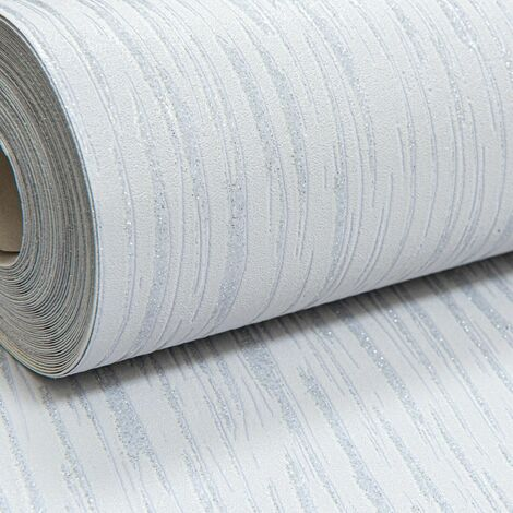 Embossed Plain Light Grey Silver Glitter Blown Vinyl Textured Wallpaper