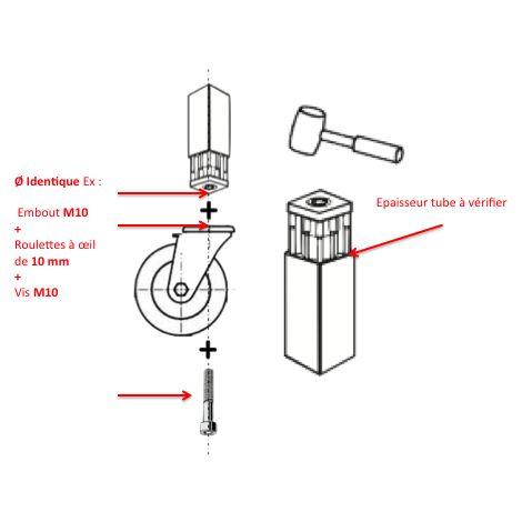 """main image of """"Embout à insert taraudé pour tube carré 40x40 - M10"""""""