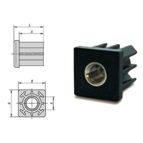 Embout à insert taraudé pour tube carré 40x40 - M8 | 2 mm