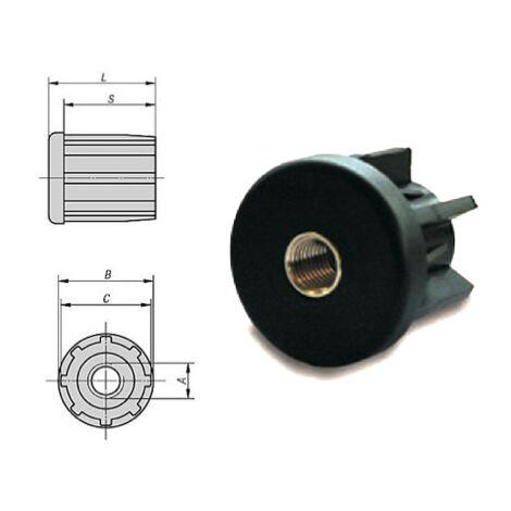 Embout à insert taraudé pour tube rond 30 - M8 | 2 mm