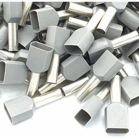 Embout à sertir 100pcs 4mm gris à double sertissage