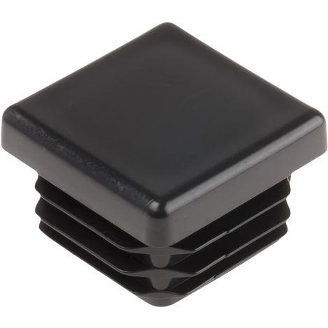Embout de tube carre, PE Noir, Profilé de 25.4mm