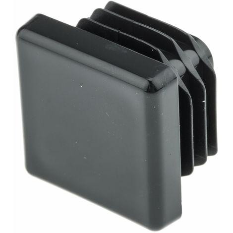 Embout de tube carre, PE Noir, Profilé de 25mm