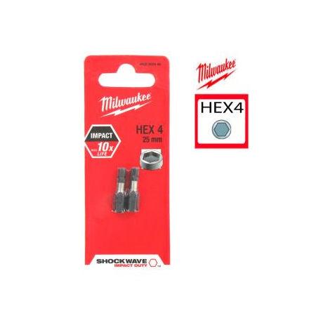Embout de vissage MILWAUKEE Hexa 4 Shockwave 25 mm - 4932352446
