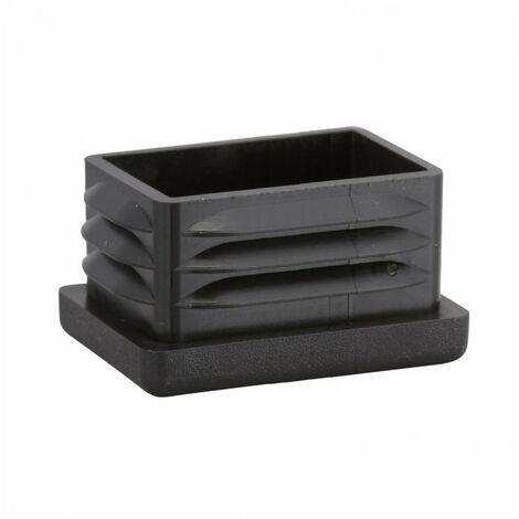 Embout plastique rentrant rectangulaire noir (30x10 mm) - Dimensions : 30x10 mm