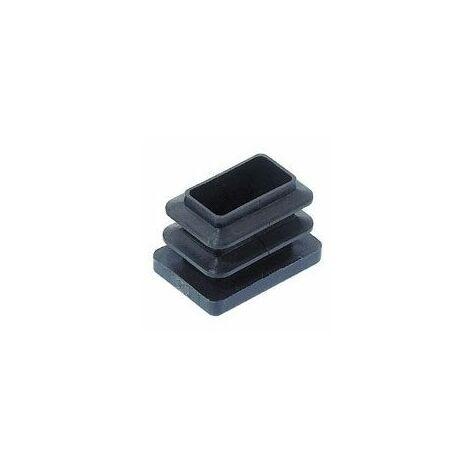Embout rectangulaire rentrant à ailettes - Décor : Noir - Matériau : Polyéthylène - Pour tube de section : 35 x 20 mm - a : 15 - B : 6 - ITAR
