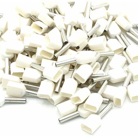 Embouts à sertir 100pcs 0.5mm blancs doubles à sertir isolés
