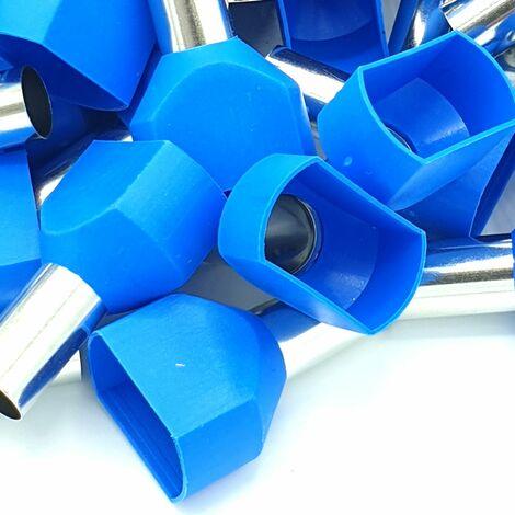 Embouts à sertir 100pcs 16mm bleu à double sertissage