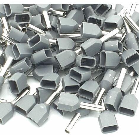 Embouts de sertissage 100pcs 0.75mm gris à double extrémité isolés
