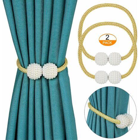 Embrasse de rideau magnétique 2 pièces, porte-rideaux élégantes retenues de perle de perle Clips de rideau avec aimant fort-jaune