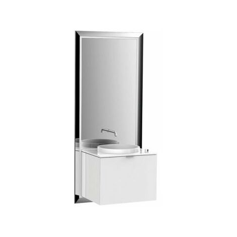 Emco furniture unit touch 600 pure, without electric package, mirror, washstand, tap, vanity unit, execution: Frame: black, base cabinet: optiwhite - 954329300
