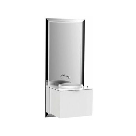 Emco furniture unit touch 600 pure, without electric package, mirror, washstand, tap, vanity unit, execution: frame: chrome, base unit: optiwhite - 954327800