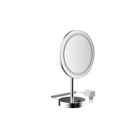 Emco LED shaving and cosmetic mirror, 3-way, toggle switch, spiral cable, one arm, round, diameter 220 mm, floorstanding model - 109406006