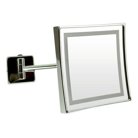 Emco LED shaving and cosmetic mirror, magnification: 3-fold, toggle switch, direct connection, single-arm, angular, 200 x 200 mm - 109406005