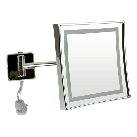Emco LED shaving and cosmetic mirror, magnification: 3-fold, toggle switch, spiral cable, single-arm, angular, 200x200 mm - 109406004